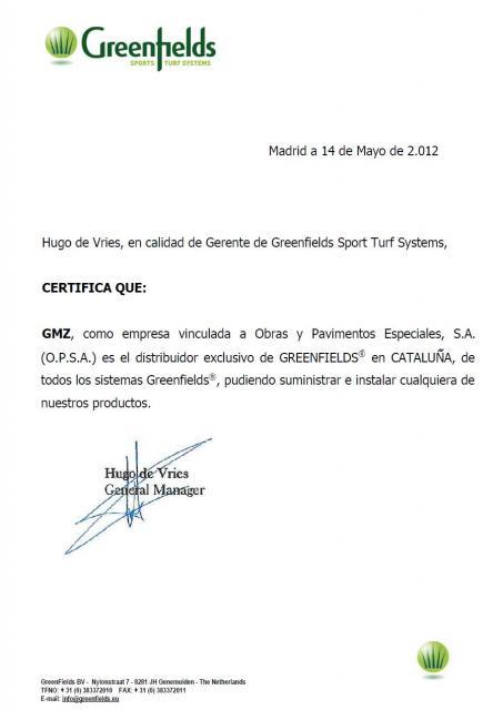 Carta de Greenfields